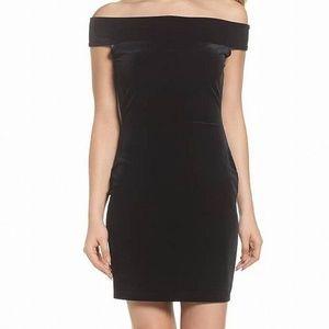 French Connection Velvet Off Shoulder Sheath Dress